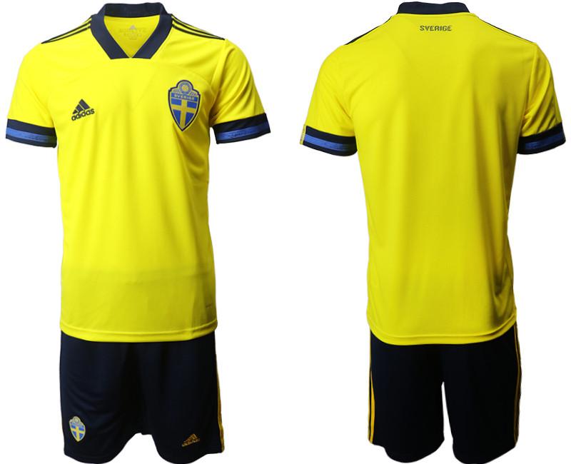Sweden Home UEFA Euro 2020 Soccer Jersey
