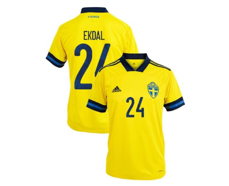 Sweden UEFA Euro 2020 Albin Ekdal Yellow #24 Home Authentic Jersey