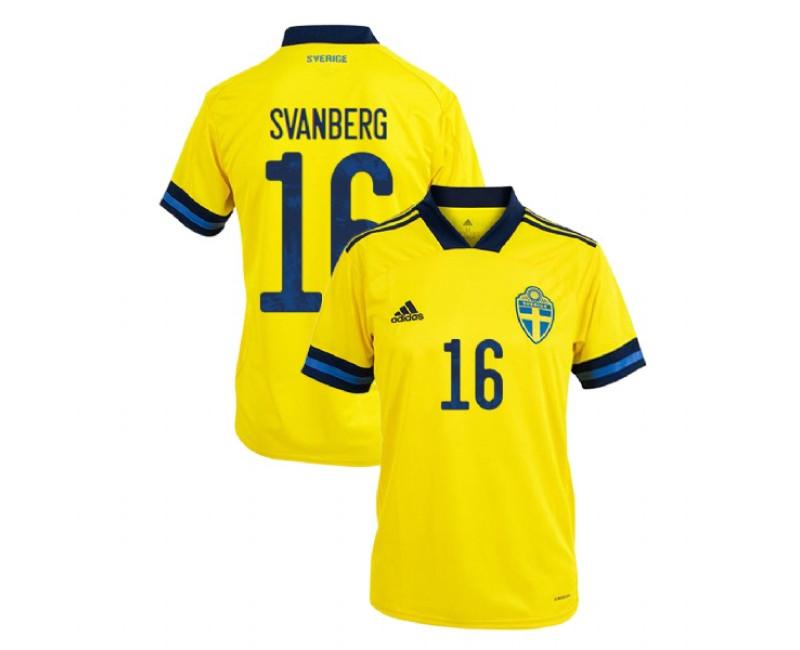 Sweden Mattias Svanberg Yellow #16 Home UEFA Euro 2020 Replica Jersey