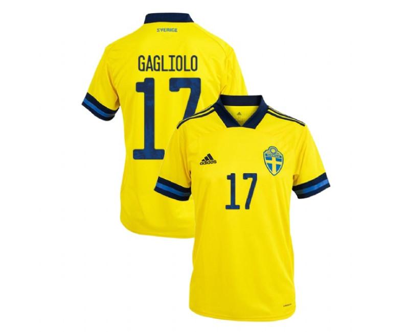 Sweden Riccardo Gagliolo Yellow #17 Home UEFA Euro 2020 Replica Jersey