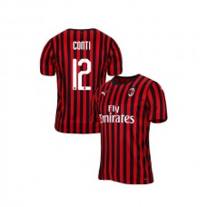 2019/20 AC Milan #12 Andrea Conti Red Black Home Authentic Jersey