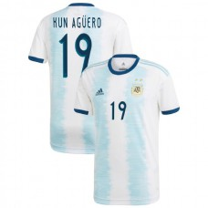 2019 Argentina Authentic #19 Sergio Aguero White Home Authentic Jersey