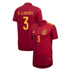 Authentic UEFA Euro 2020 Diego Llorente Red #3 Home Authentic Jersey