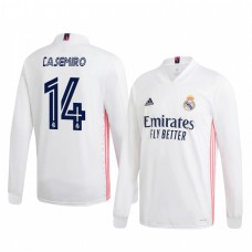 Youth Casemiro Real Madrid Authentic Jersey 2020/21 Home Long Sleeve