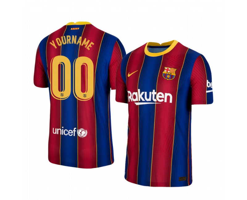 Barcelona Custom Short Sleeve Blue Red Authentic Jersey 2020/21 Home