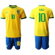 Brazil National Team Soccer #10 KAKA Yellow Home Jersey (With Shorts)