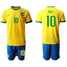 Brazil National Team Soccer #10 PELE Yellow Home Jersey (With Shorts)