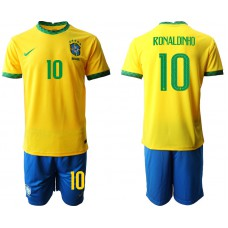 Brazil National Team Soccer #10 RONALDINHO Yellow Home Jersey (With Shorts)