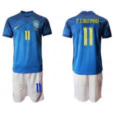 Brazil National Team Soccer #11 P.COUTINHO Blue Away Jersey (With Shorts)