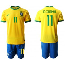 Brazil National Team Soccer #11 P.COUTINHO Yellow Home Jersey (With Shorts)