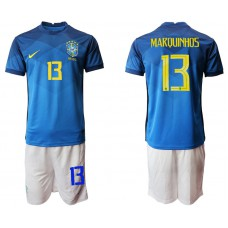 Brazil National Team Soccer #13 MARQUINHOS Blue Away Jersey (With Shorts)
