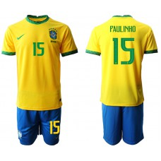 Brazil National Team Soccer #15 PAULINHO Yellow Home Jersey (With Shorts)
