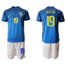 Brazil National Team Soccer #19 WILLIAN Blue Away Jersey (With Shorts)