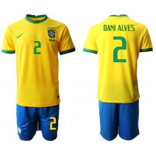 Brazil National Team Soccer #2 DANI ALVES Yellow Home Jersey (With Shorts)