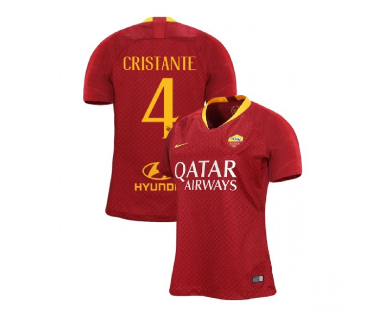 Womens AS Roma Home #4 Bryan Cristante Red Authentic 2018/19 Jersey