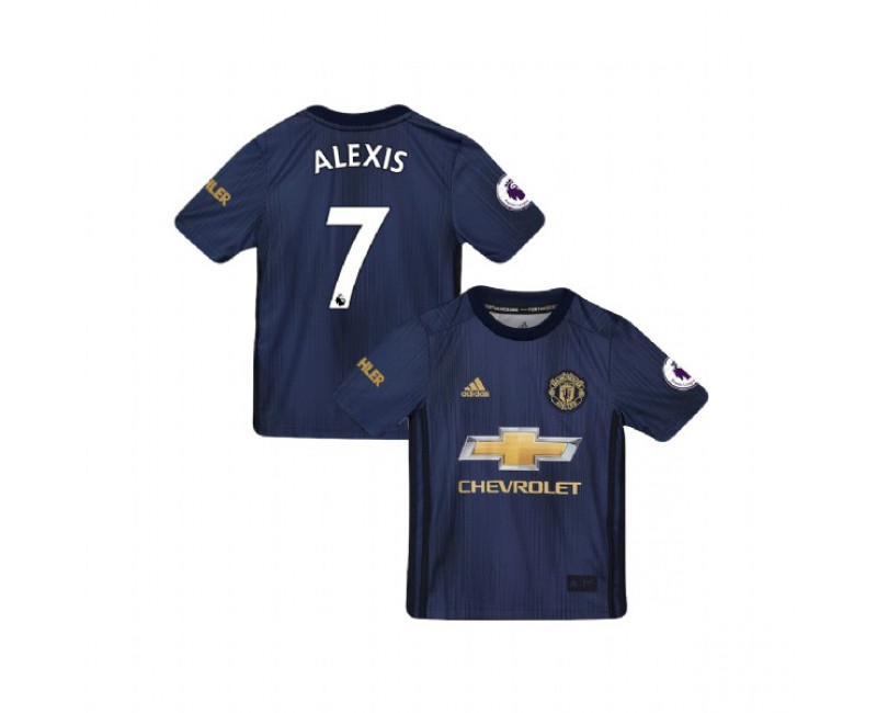 YOUTH 2018/19 Manchester United Third #7 Alexis Sanchez Navy Replica Jersey